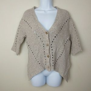 MOTH | Anthro Oatmeal Knitted Crop Sweater Size S
